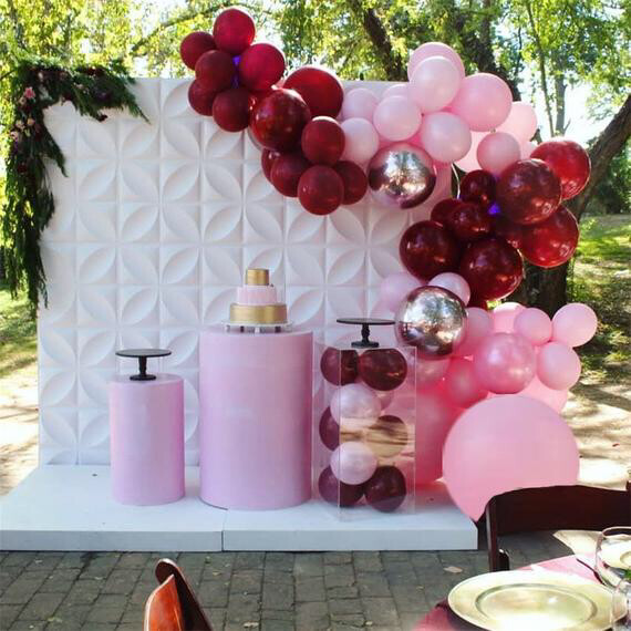 89pcs Pastel Wine Red Pink Balloon Garland Arch Kit For Bride Wedding Engagement Anniversary Party Decoration Backdrop Ballon