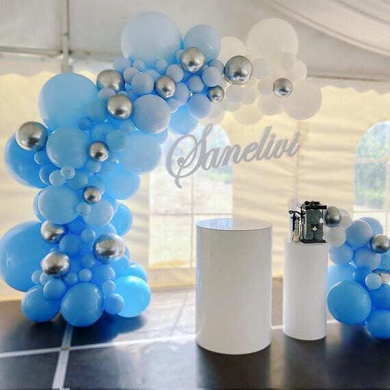 156pcs White Blue Pastel Party Decoration Balloon House Moving Mall Bride Wedding Anniversary Decoration Balloons Baby Shower