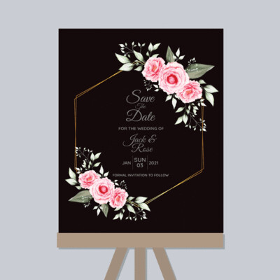 Digital File Watercolor Floral Cards Template With Geometric Golden Hand Drawing Flower And Save The Date Multipurpose