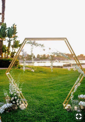 Double Layers Hexagon Wedding Arch Diamond Wrought Iron Party Background Frame Decoration DIY Party Path Artificial Flower Frame Decoration