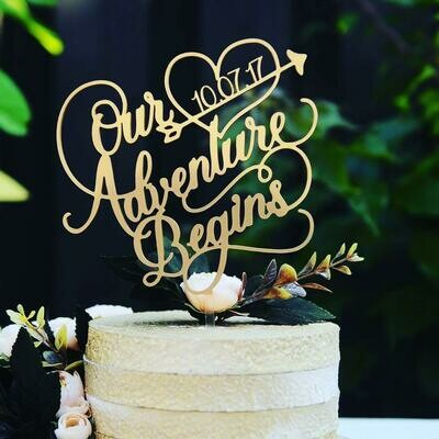 Our adventure beginning Cake Topper