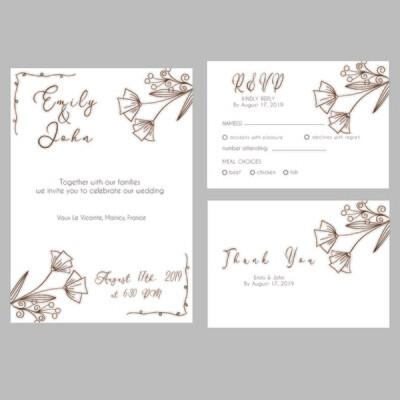 Digital File Floral Wedding Invitation Set