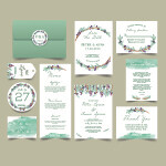 Digital File Green Leaf Wedding Invitation Set