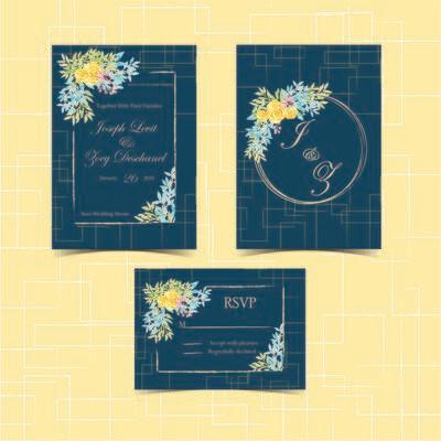 Digital File Floral Wedding Invitation Set With Beautiful Flower