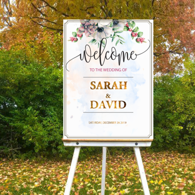 Digital File Royal flower Wedding welcome sign