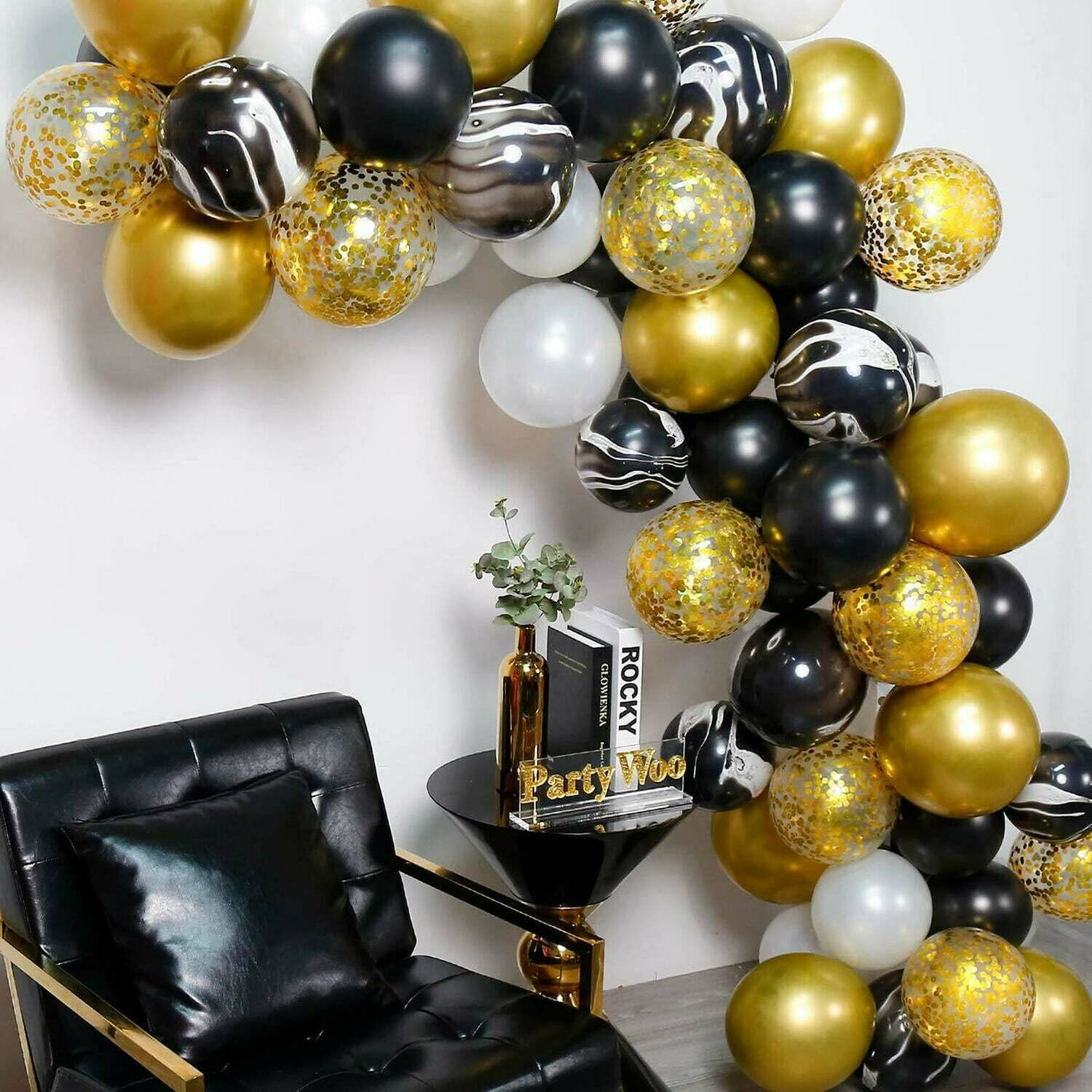 Black Agate Gold Balloon Garland Kit, Balloon Arch Kit, Party Decor, Wedding Decoration, Baby Shower, Bachelorette Party, Party Supplies