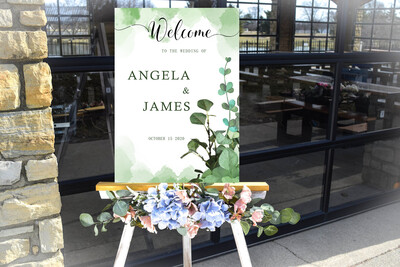 Digital File Green Nature Wedding welcome sign