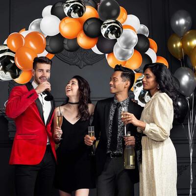 123 pcs Halloween Balloon Arch & Garland Kit  Black Orange White, Silver Agate Black Balloons  for Halloween Party Decorations