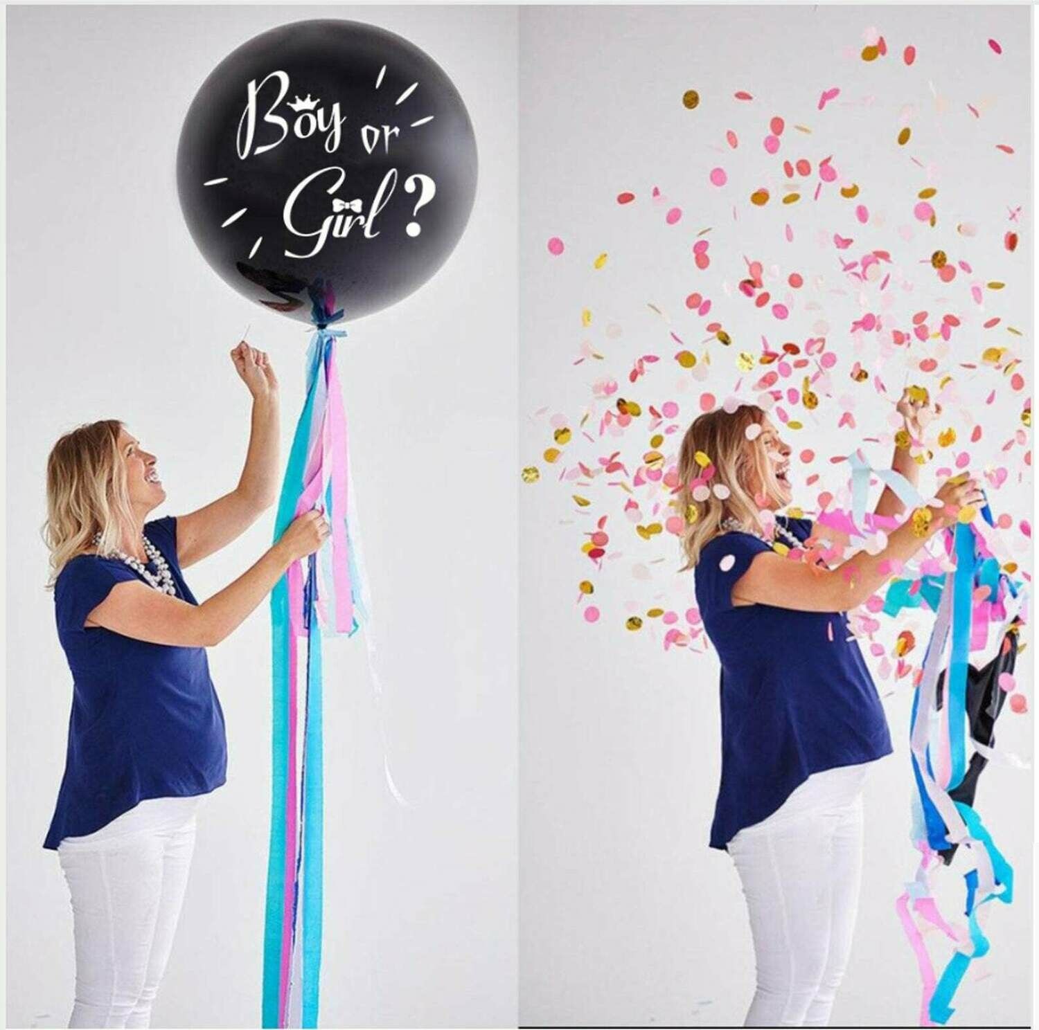 "Gender Reveal Balloon Gender Confetti Balloon | 36"" Black Reveal Balloon Gender Reveal Party Supply Blue Confetti Filled or Pink Filled"