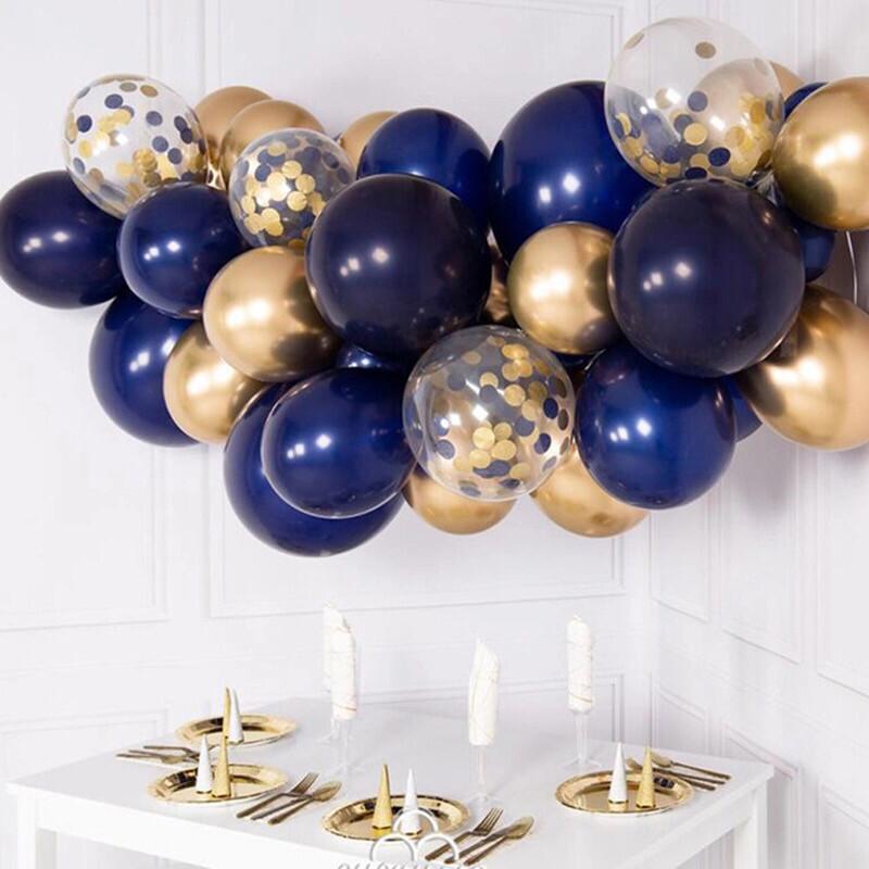 30pcs DIY Balloons Garland Kit Navy Blue Chrome Gold Metal Chrome  Balloon Garland Wedding Engagement 21 Birthday Decor