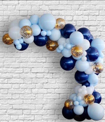 151pcs/Set DIY Balloon Garland Blue Macaron White Latex Gold Confetti Navy Blue Mixed Wedding Birthday Baby Shower Party Decor