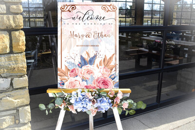 Digital File wedding luxury water floral Wedding welcome sign