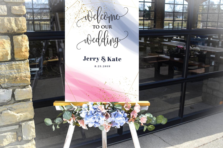 Digital File wedding  Pink Blue Watercolor  Wedding welcome sign