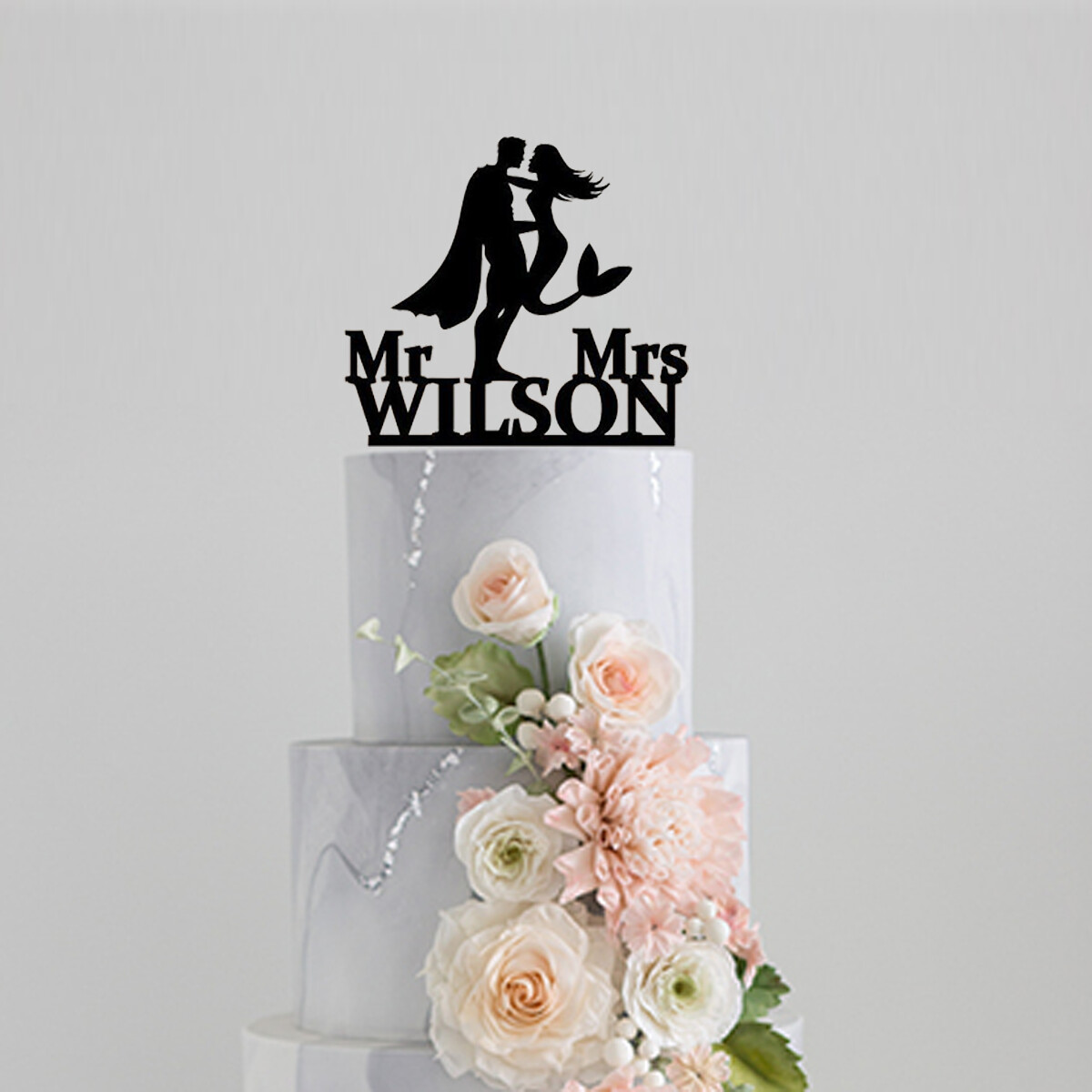 Personalized name Wedding Cake Topper,Superman and little mermaid Custom Cake Topper, Mr and Mrs Wedding Cake Topper