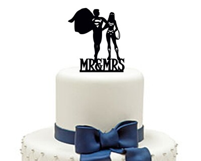Personalized Wedding Cake topper mr and mrs, superman wedding cake decoration. disney wedding cake topper, custom cake topper Cake Topper