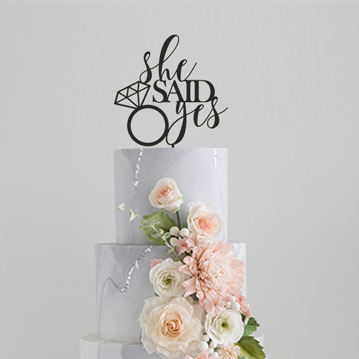 She Said Yes Cake Topper, Bridal Shower, Engagement Party Decoration
