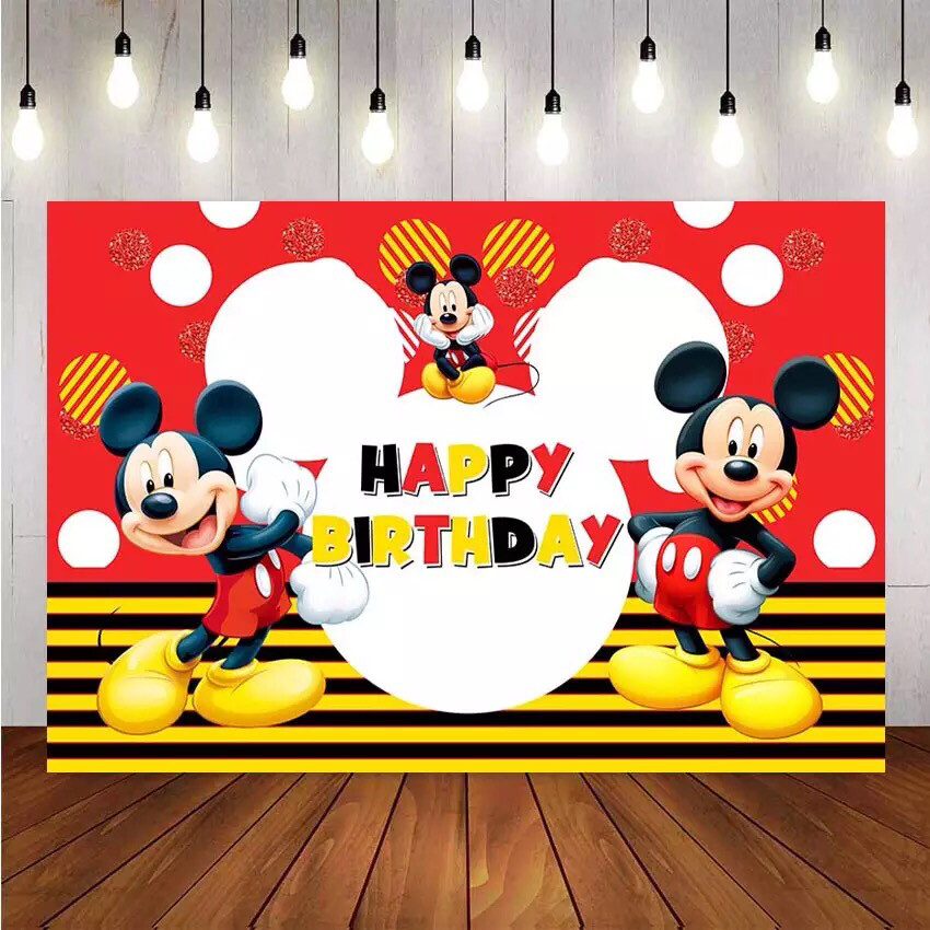NeoBack Photography background Cartoon Mickey Mouse Custom Child Birthday Party Photo Studio Backdrops Banner