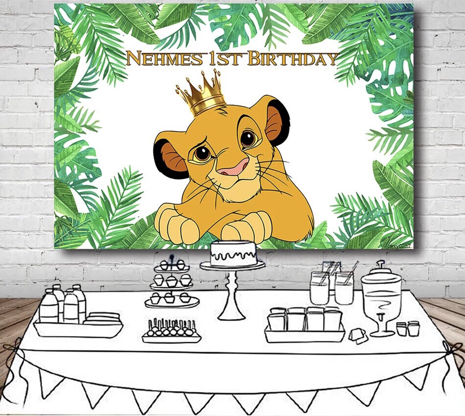 Green Leaves Cartoon Lion King Backdrop Boys Happy 1st Birthday Party Backgrounds For Photo Studio Customized