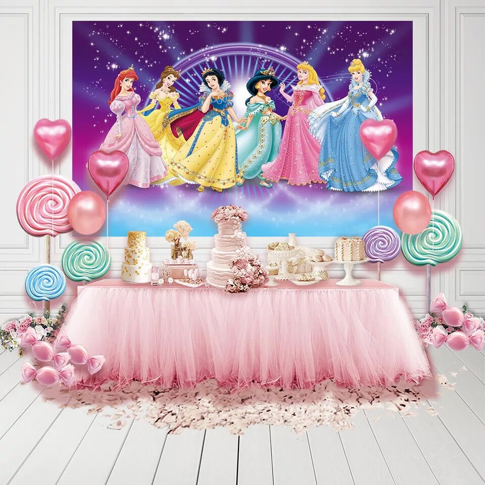 Tangled Jasmine Ariel Princess Family Castle Photo Backdrop Kids Birthday Custom Photo Studio Backdrop Background