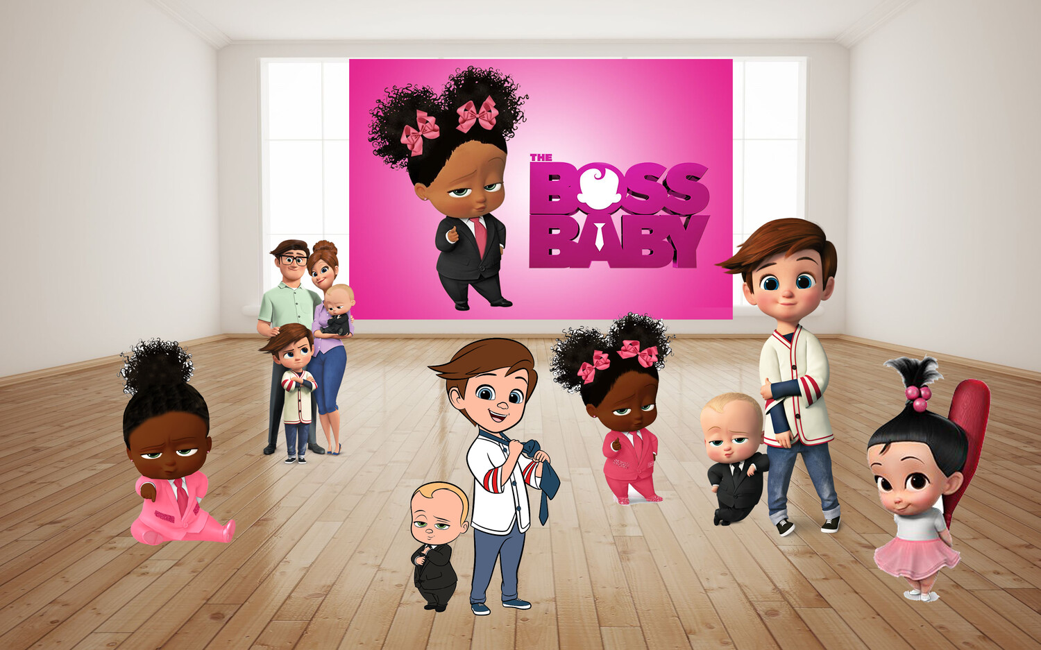 Custom Boss Baby Birthday Backdrop African American Boss Baby Printed Personalized Birthday Party
