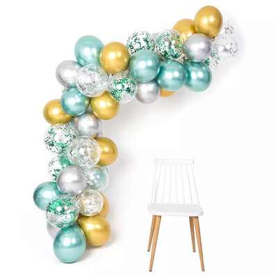 50pcs Balloon Garland 12inch Macaron Mint Green Gold Silver Metallic Balloons Arch Kit For Jungle Theme Party Supplies Birthday