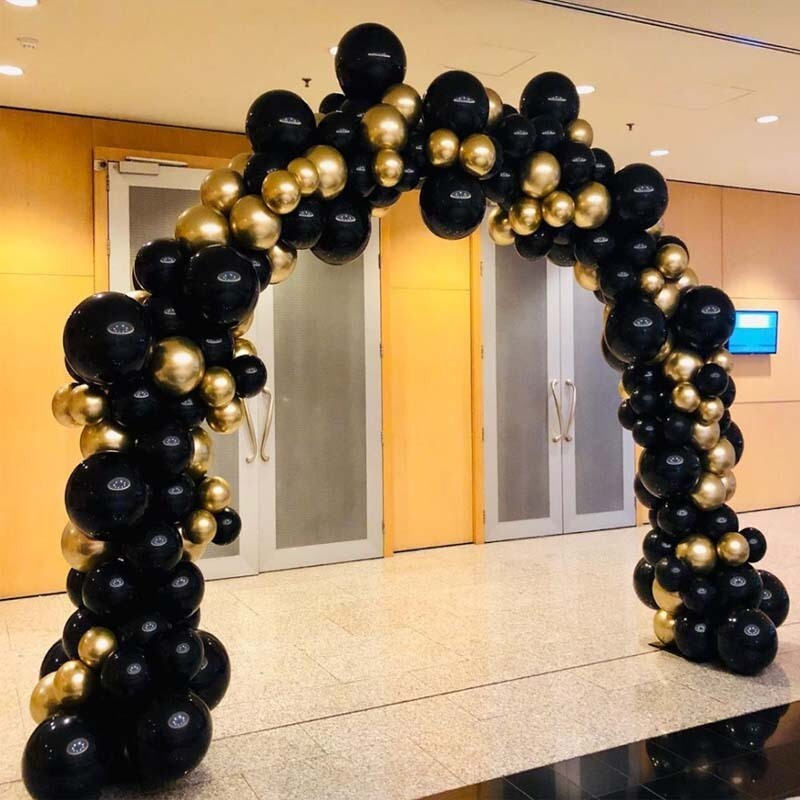 113pcs Chrome Metallic Gold and Black Balloons for Party Wild One Gold Black Balloon Garland Kit Baloons Birthday Decor Supplies
