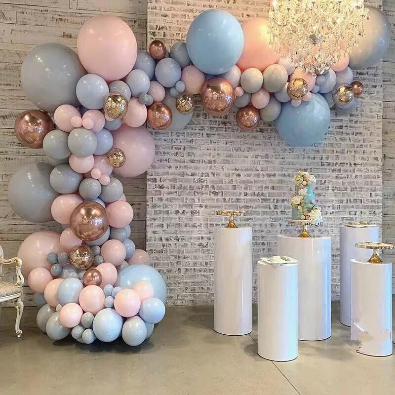 174 Pastel Baby Pink Blue Gray Macaron Balloon Arch Garland Kit 4D Rose Gold Balloons Wedding Birthday Party Backdrop Decor