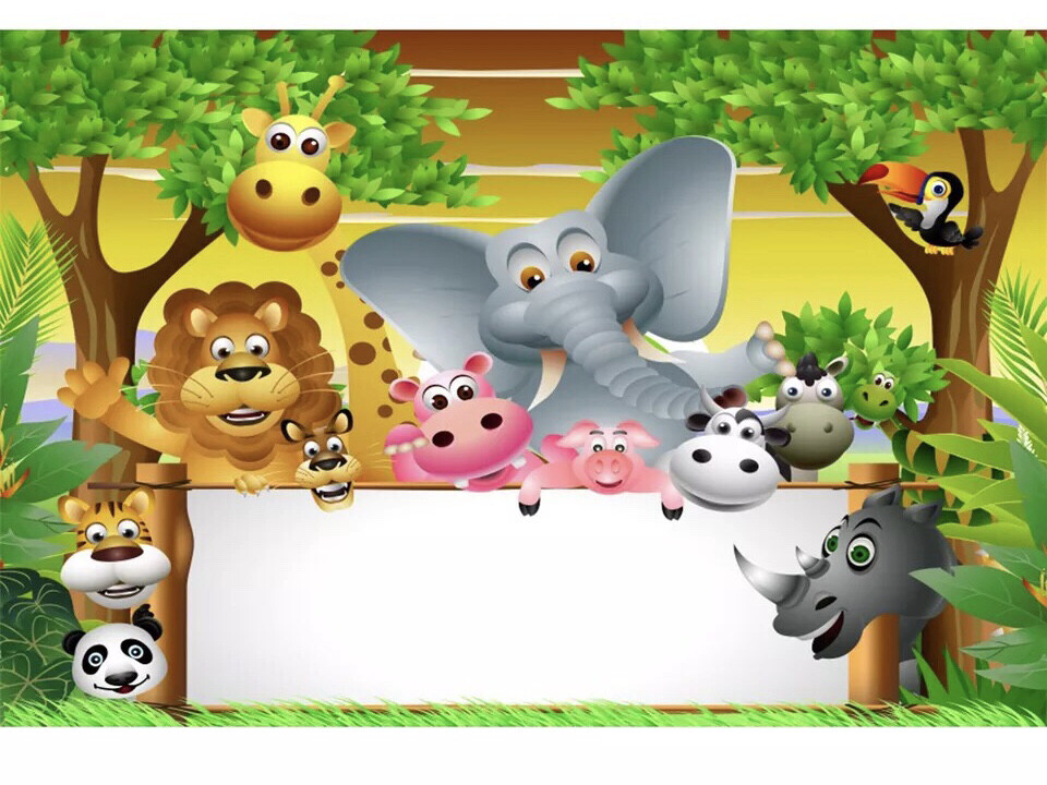 Jungle Safari Birthday Party Personalized Words Customized Photocall Poster Baby Portrait Photo Backdrop Photographic Background