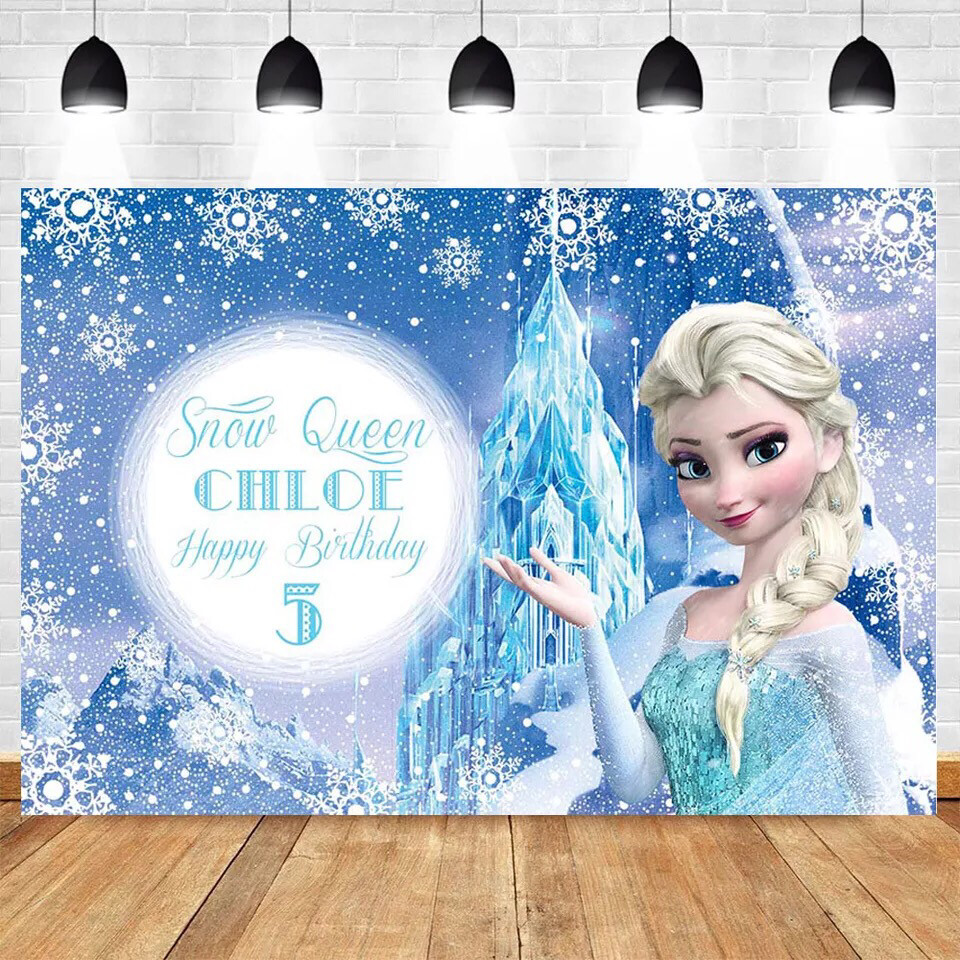 Photography Backdrops Cartoon Elsa Princess Girl Birthday Party Background Customized Baby Shower Decor Backdrop