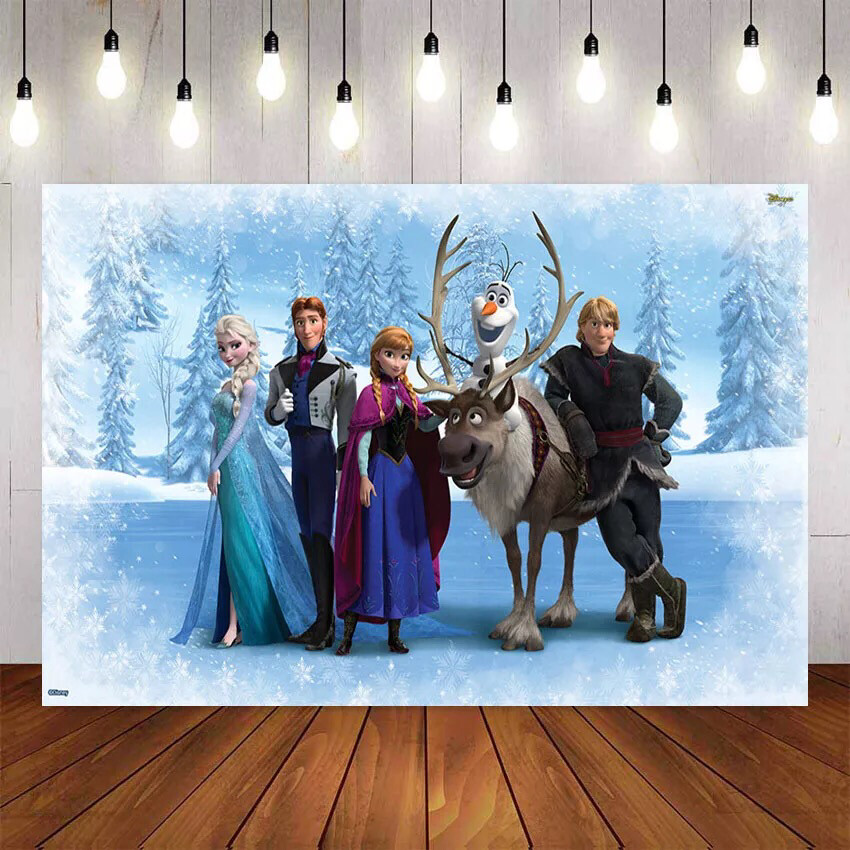 NeoBack Queen Elsa with Anna with Friends Background Photography Fairy Tale Ice World Backdrops for Kids Birthday