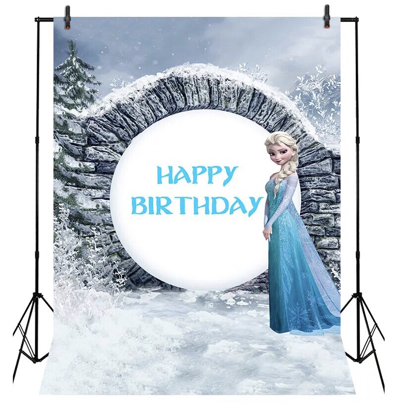 Princess Elsa Photography Backdrops Birthday Baby Shower Photo Background Seamless