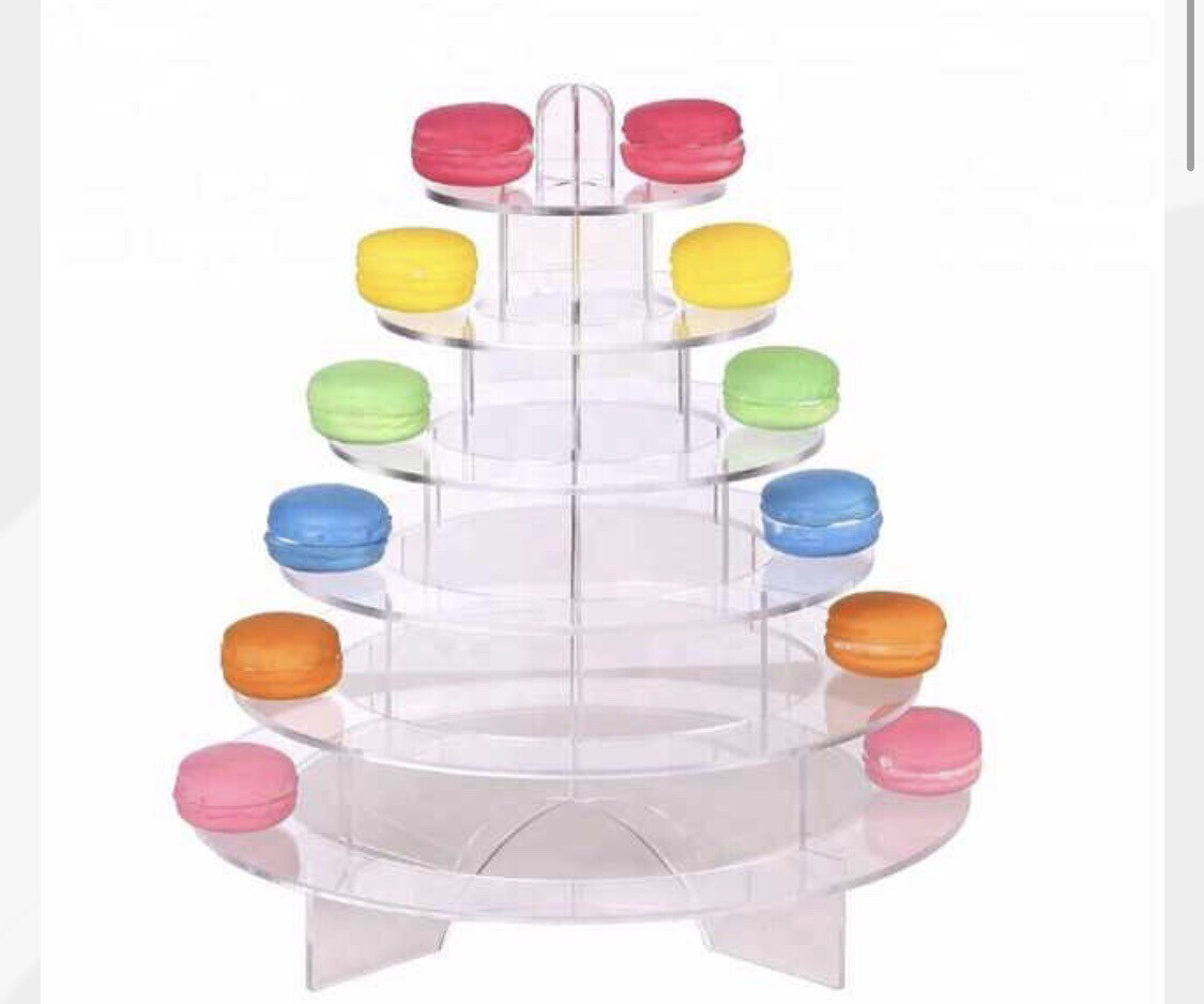 WEDDING PARTY TREE TOWER 6 TIER ACRYLIC MACARON DISPLAY FOR RENT