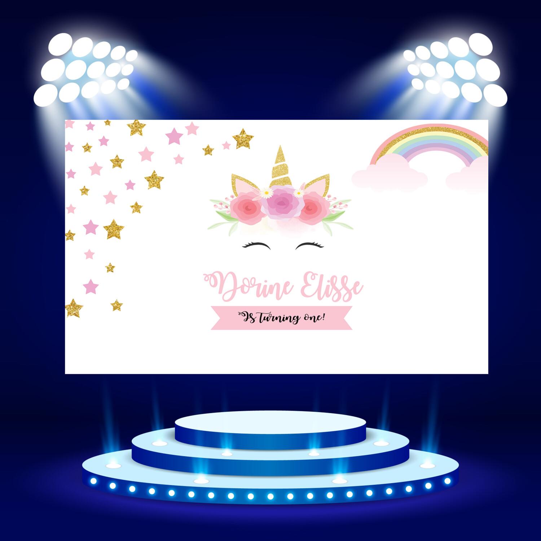 Unicorn birthday backdrop | Unicorn birthday party backdrop| Floral unicorn backdrop | Rainbow Unicorn banner with flowers
