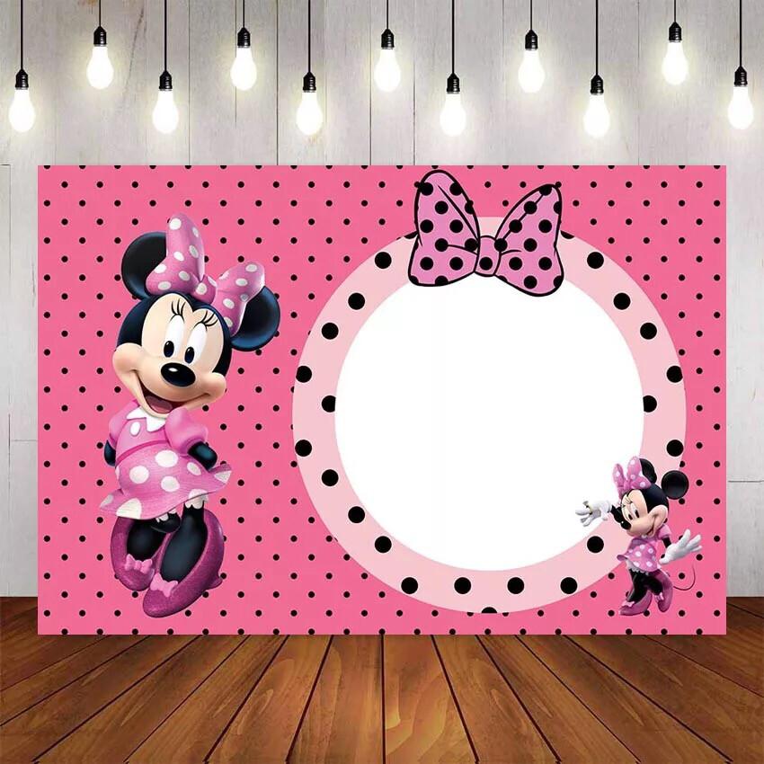 photography Backdrop Pink Bow Minnie Newborn Children Birthday Girls Baby Shower Custom Photo Studio Background