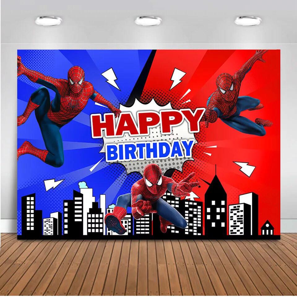 Spiderman backdrop for photography children birthday party decoration cartoon superhero background for photo studio supplies