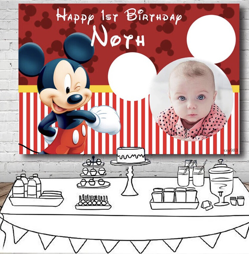 Cute Red Mickey Backdrop For Boys Baby Shower 1st Birthday Party Photography Backgrounds Photo Studio Custom