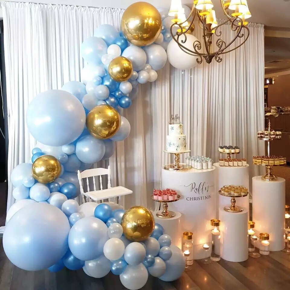 Balloon Garland Blue White Gold Chrome Balloon Arch Wedding Bridal Shower Birthday Party Baby Shower Decoration