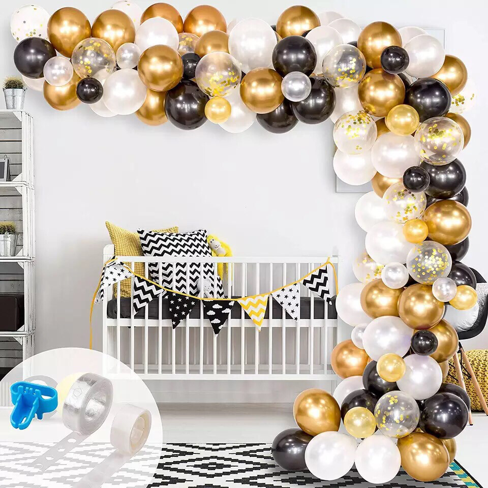 123Pcs Black White Gold Balloons Arch Balloon Garland Kit For Engagement Wedding Birthday Baby Shower Engagement Party Decor