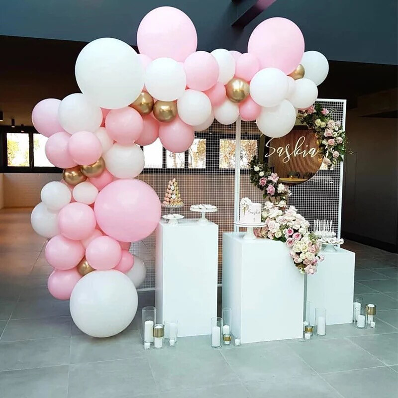 Pastel Pink Macaron Balloon Arch Set White Wedding Bridal Shower Party Backdrop Decoation Balloons Garland Baby Shower