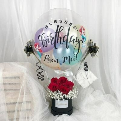 Hot Air Balloon with fresh Flower Bouquet