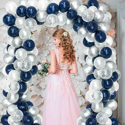 Navy Blue White Sliver Balloon Arch ,Party Balloon Arch,Craft Supplies & Party ,Wedding Balloon Kit,Party Balloon Decoration,Craft Supplies