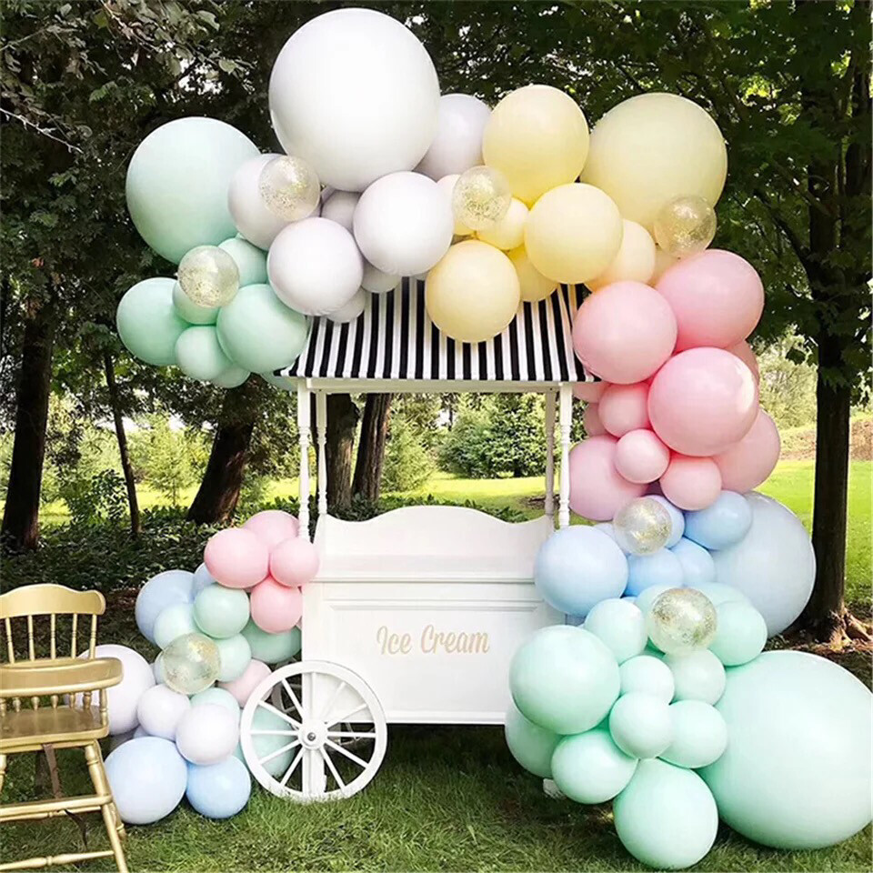 155pcs Double Layer Macaroon Balloon Garland Arch Kit White Yellow Blue Pink Latex Balloons Birthday Bridal Baby Shower Wedding Party Decor