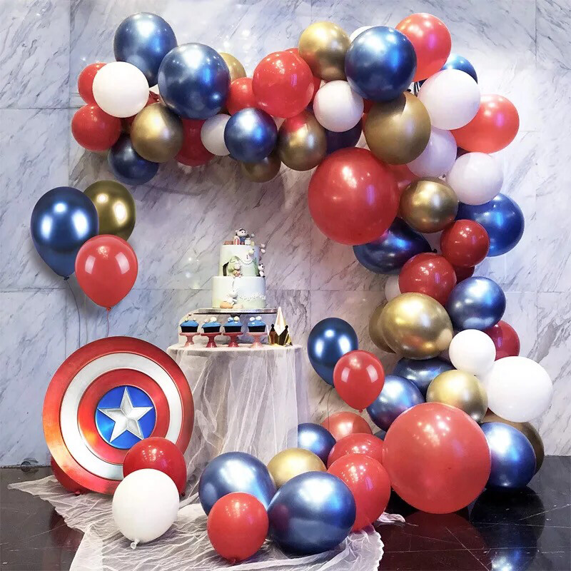86 Pcs Balloon Garland Arch Kit Red Blue Gold Latex Balloon Garland for Wedding Birthday Festival Party Decoration