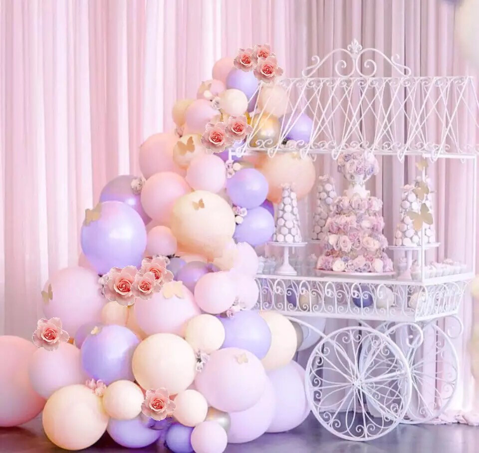 106pcs Pastel Balloons Arch KIT Pink and Purple Gold Confetti Balloons for Baby Shower Girls Birthday Party Decorations