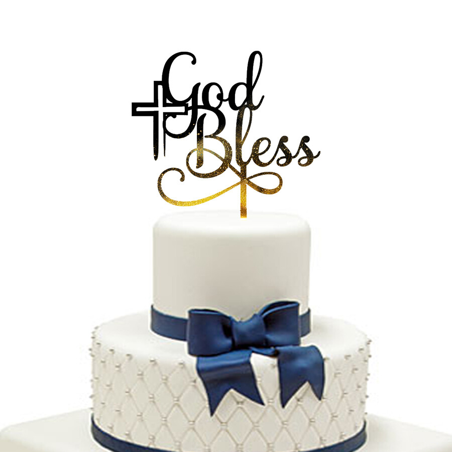 Personalised God Bless Cake Topper,Christening Communion cake topper