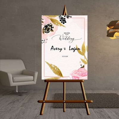 Digital File pink hand painted elegant  Wedding welcome sign