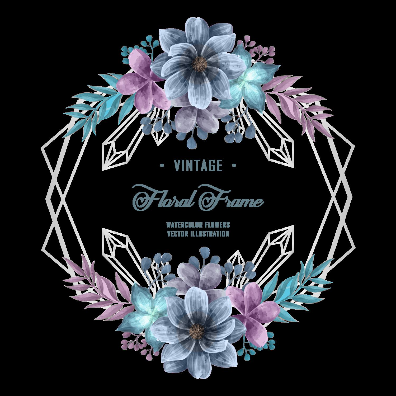 Elegant Blue And Purple Watercolor Flower Floral Frame Wedding Invitation Decoration