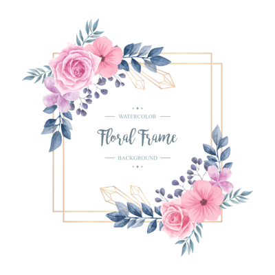 Wedding Vintage Watercolor Floral Flower Frame Background