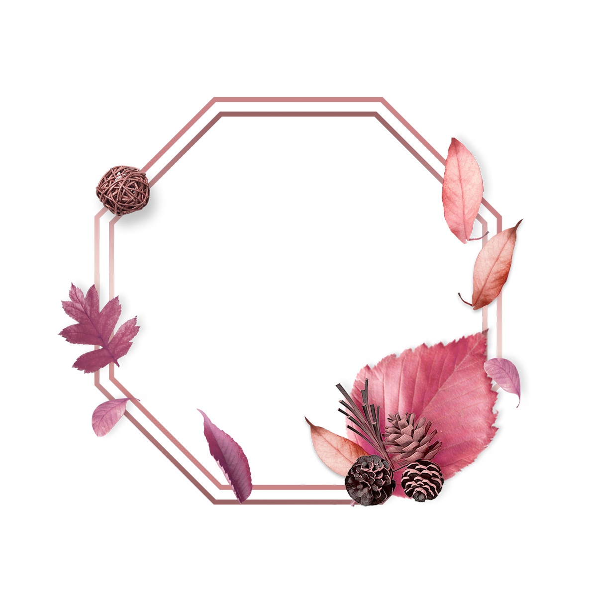 Elegant Luxury Rose Gold Leaf Border