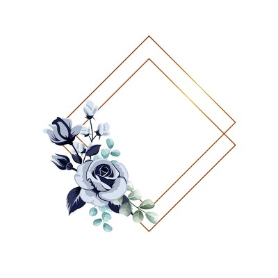 gold frame with blue flowers design
